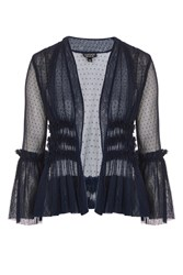Topshop Dobby Tulle Jacket Navy Blue