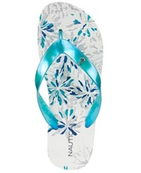 Nautica Huron Flip Flops Women's Shoes Blue Floral