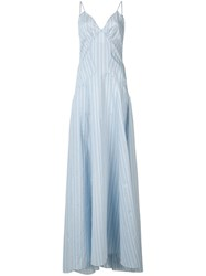 Rosie Assoulin Striped Flare Maxi Dress Blue