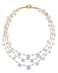 Marco Bicego Paradise Chalcedony Multi Row Necklace In 18K Yellow Gold