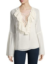 Romeo And Juliet Couture Long Sleeve Lace Up Ruffled Blouse Off White