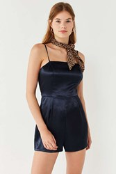 Urban Outfitters Uo Shiny Satin Straight Neck Romper Navy