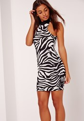 Missguided Double Jacquard Animal Bodycon Mini Dress Monochrome