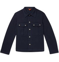 Barena Stretch Cotton Twill Overshirt Navy
