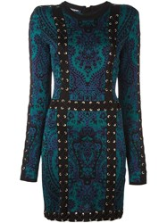 Balmain Baroque Lace Up Effect Dress Black