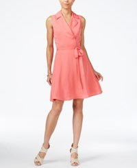 Armani Exchange Sleeveless Notched Collar Shirtdress Soft Coral