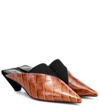 Mercedes Castillo Joilette Croc Effect Leather Mules Brown