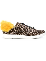 Paul Smith Ps By Faux Fur Trim Sneakers Cotton Leather Rubber Brown