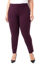 Liverpool Plus Size Kelsey Ponte Knit Trousers Aubergine