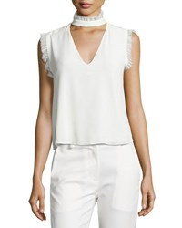 Alexis Lilibeth Ruffle Trim Sleeveless Silk Choker Top White