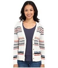 Pendleton Petite Stripe Cardigan Ivory Multi Women's Sweater Bone