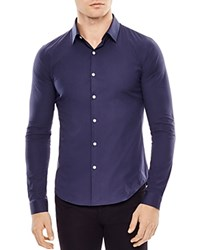 Sandro Seamless Stretch Slim Fit Button Down Shirt Blue