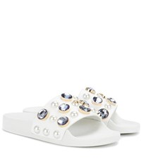 Tory Burch Vail Embellished Leather Slide Sandals White