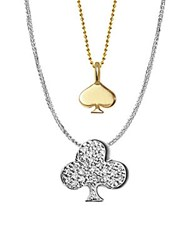 Alex Woo 14K Yellow Gold White Gold And Diamonds Vegas Spade And Club Necklace