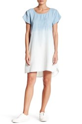 Laju Scoop Neck Short Sleeve Ombre Effect Dress Blue