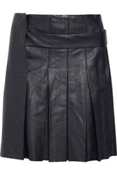 Iris And Ink Noa Pleated Stretch Leather Mini Skirt Midnight Blue