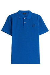 Jil Sander Cotton Polo Shirt With Embroidery Blue