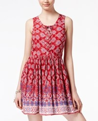 American Rag Printed Lace Up Sundress Only At Macy's Red Combo