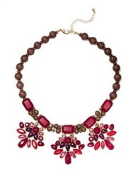 Catherine Stein Wood And Bead Cluster Necklace Red
