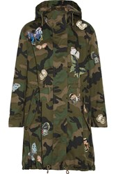 Valentino Appliqued Camouflage Print Cotton Twill Parka Army Green