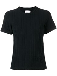 Barrie Cashmere Ribbed Knit Top Black