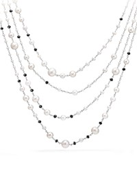 David Yurman Bijoux Cultured Freshwater Pearl And Black Spinel Layered Necklace White Black