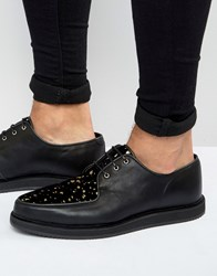 Asos Brothel Shoes In Black Leather With Gold Speckle Effect Black