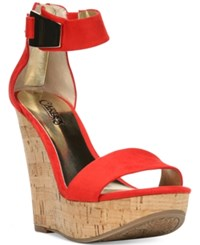 Carlos By Carlos Santana Benita Ankle Strap Platform Wedge Sandals Women's Shoes Spicy Coral