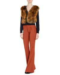 Prada Knit Cardigan W Fox Fur Front Blue