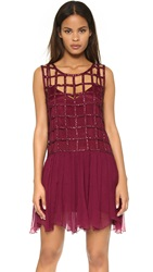 Free People Sequin Shell Drop Waist Dress Blackberry