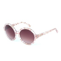 Heidi London Flower Embedded Circular Sunglasses Pink Purple