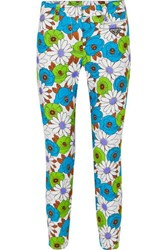 Prada Floral Print Cotton Blend Twill Skinny Pants Green