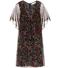 See By Chloe Floral Printed Fil Coupe Silk Dress Black
