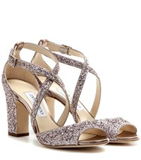 Jimmy Choo Carrie 85 Glitter Embellished Leather Sandals Pink