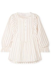 Apiece Apart Cala Striped Cotton And Lurex Blend Voile Top Ivory