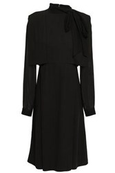 Mikael Aghal Woman Pussy Bow Georgette Paneled Layered Crepe Dress Black