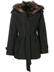 Max And Moi Belted Fur Lined Parka Black