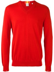 Paul Smith Classic V Neck Jumper Men Cotton S Red
