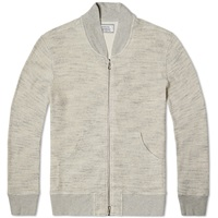 Officine Generale Japanese Waffle Zip Sweat Dark Grey Heather