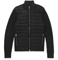 Tom Ford Slim Fit Ribbed Merino Wool And Quilted Shell Down Jacket Charcoal