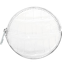 Loewe Round Crocodile Leather Coin Purse Soft White