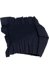 Cedric Charlier Ruffled Smocked Stretch Cotton Poplin Bustier Top Navy