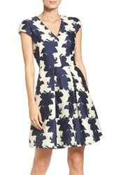 Vince Camuto Women's Floral Organza Fit And Flare Dress