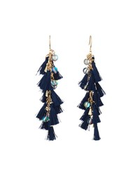 Lydell Nyc Tassel And Bead Linear Drop Earrings Blue