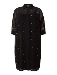 Biba Eyelet Detail Shirt Dress Black