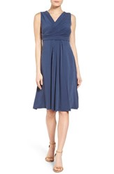Nic Zoe Women's City Retreat Surplice Fit And Flare Dress Indigo