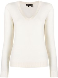 Theory V Neck Jumper White