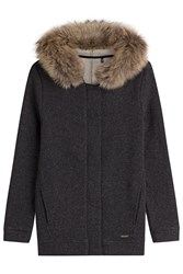 Woolrich Cardigan With Wool And Cotton And A Fur Trimmed Hood Grey