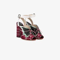 Marco De Vincenzo Butterfly Web Ankle Strap Sandals Red