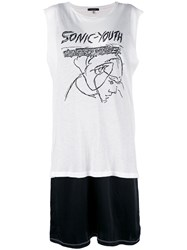 R 13 R13 Sonic Youth T Shirt Dress White